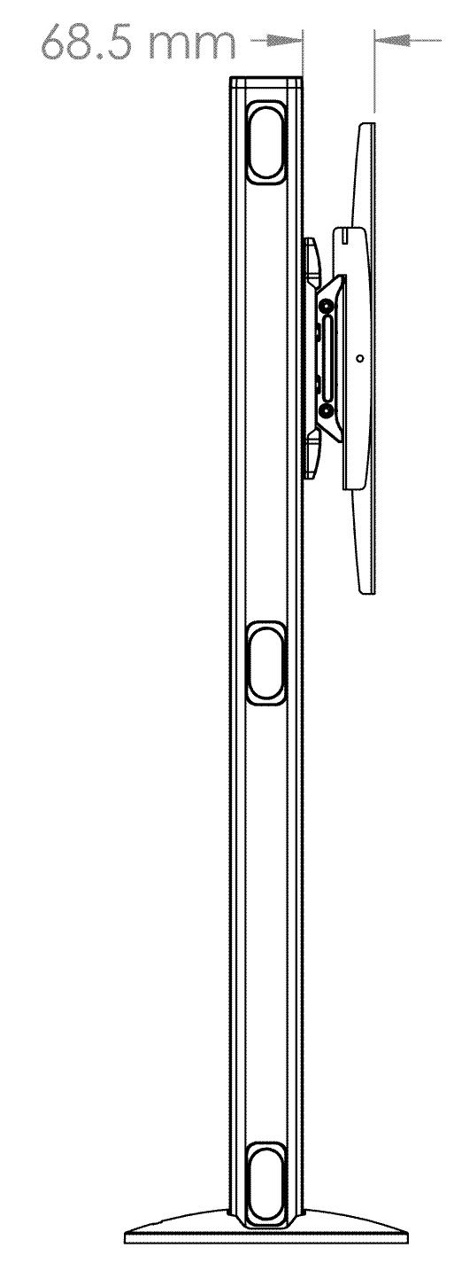 1 Display 1×1, für große Bildschirme, Höhe 110 cm, Standard-VESA, zur Bodenbefestigung