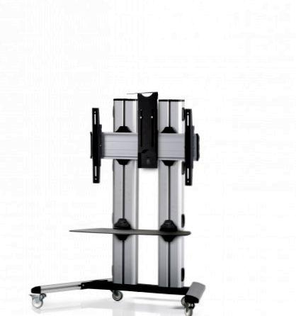 1 Display 1×1, für große Bildschirme, Höhe 110 cm, Standard-VESA, Ablage, Kamera-Halterung, auf Standfüßen mit Laufrollen