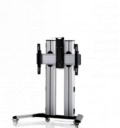 1 Display 1×1, für große Bildschirme, Höhe 110 cm, Standard-VESA, Kamera-Halterung, auf Standfüßen mit Laufrollen