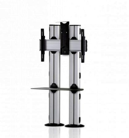 1 Display 1×1, für große Bildschirme, Höhe 135 cm, Standard-VESA, Ablage, Kamera-Halterung, zur Bodenbefestigung