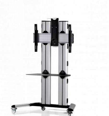 1 Display 1×1, für große Bildschirme, Höhe 135 cm, Kamera-Halterung,, Ablage, –auf Standfüßen mit Laufrollen
