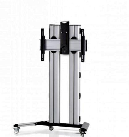 1 Display 1×1, für große Bildschirme, Höhe 135 cm, Standard-VESA, Kamera-Halterung, auf Standfüßen mit Laufrollen