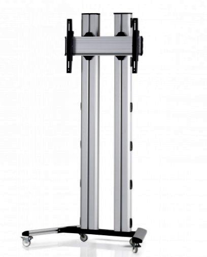 1 Display 1×1, für große Bildschirme, Höhe 150 cm, Standard-VESA, auf Standfüßen mit Laufrollen