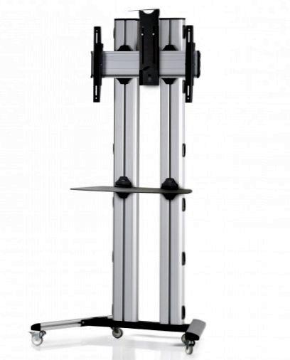 1 Display 1×1, für große Bildschirme, Höhe 180 cm, Standard-VESA, Ablage, Kamera-Halterung, auf Standfüßen mit Laufrollen