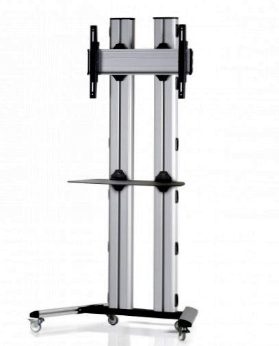 1 Display 1×1, für große Bildschirme, Höhe 180 cm, Standard-VESA, Ablage, auf Standfüßen mit Laufrollen