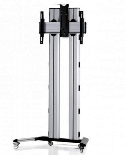 1 Display 1×1, für große Bildschirme, Höhe 180 cm, Standard-VESA, Kamera-Halterung, auf Standfüßen mit Laufrollen