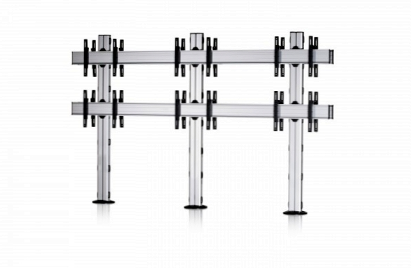 12 Displays 2×3 beidseitig, Standard-VESA, zur Bodenbefestigung