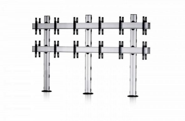 12 Displays 2×3 beidseitig, für große Bildschirme, Standard-VESA, zur Bodenbefestigung