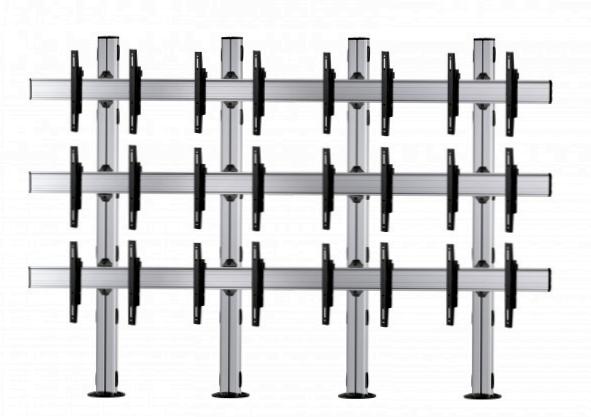 12 Displays 3×4, für große Bildschirme, Standard-VESA, zur Bodenbefestigung