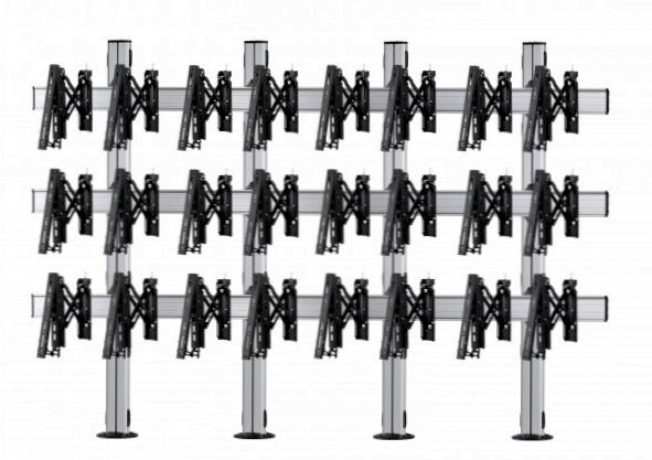 12 Displays 3×4, für große Bildschirme, Teleskop-VESA, zur Bodenbefestigung