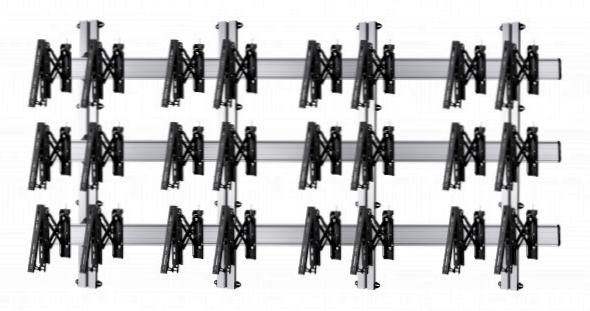12 Displays 3×4, für große Bildschirme, Teleskop-VESA, zur Wandbefestigung