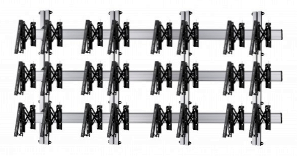 12 Displays 3×4, Teleskop-VESA, zur Wandbefestigung