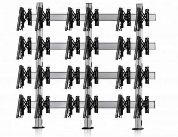 12 Displays 4×3, für große Bildschirme, Teleskop-VESA, zur Bodenbefestigung