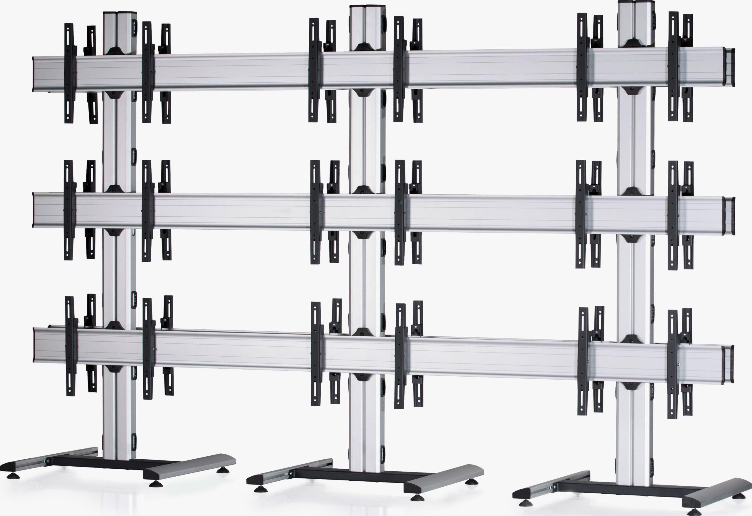 18 Displays 3×3 beidseitig, Standard-VESA, auf Standfuß