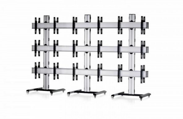 18 Displays 3×3 beidseitig, für große Bildschirme, Standard-VESA, auf Standfüßen mit Laufrollen