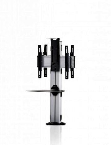 2 Displays 1×1 beidseitig, Höhe 110 cm, Standard-VESA, Ablage, Kamera-Halterung,, – zur Bodenbefestigung