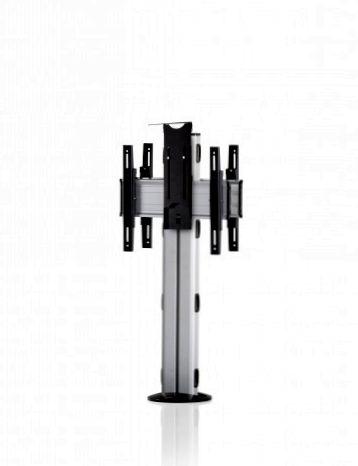 2 Displays 1×1 beidseitig, Höhe 110 cm, Standard-VESA, Kamera-Halterung, zur Bodenbefestigung