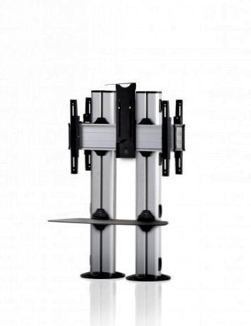2 Displays 1×1 beidseitig, für große Bildschirme, Höhe 110 cm, Standard-VESA, Ablage, Kamera-Halterung,, – zur Bodenbefestigung