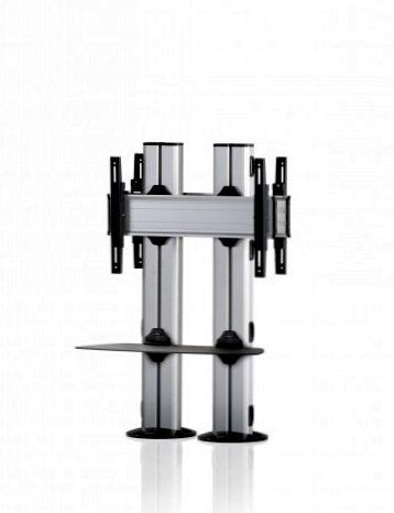 2 Displays 1×1 beidseitig, für große Bildschirme, Höhe 110 cm, Standard-VESA, Ablage, zur Bodenbefestigung