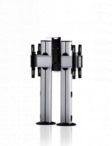2 Displays 1×1 beidseitig, für große Bildschirme, Höhe 110 cm, Standard-VESA, Kamera-Halterung, zur Bodenbefestigung