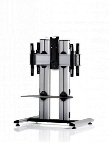 2 Displays 1×1 beidseitig, für große Bildschirme, Höhe 110 cm, Standard-VESA, Ablage, Kamera-Halterung,, – auf Standfuß