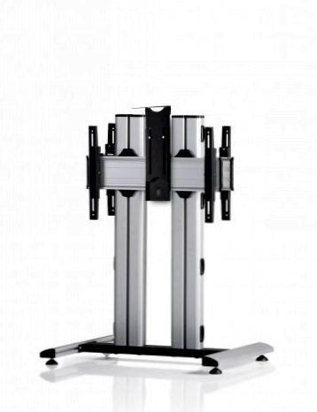 2 Displays 1×1 beidseitig, für große Bildschirme, Höhe 110 cm, Standard-VESA, Kamera-Halterung, auf Standfuß