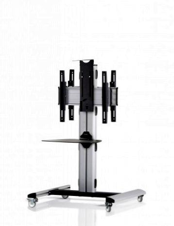 2 Displays 1×1 beidseitig, Höhe 110 cm, Standard-VESA, Ablage, Kamera-Halterung,, -laufrollen- auf Standfuß