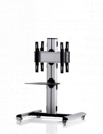 2 Displays 1×1 beidseitig, Höhe 110 cm, Standard-VESA, Ablage, auf Standfüßen mit Laufrollen