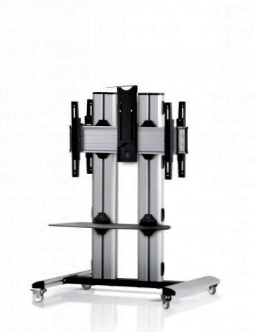 2 Displays 1×1 beidseitig, für große Bildschirme, Höhe 110 cm, Standard-VESA, Ablage, Kamera-Halterung,, -laufrollen- auf Standfuß