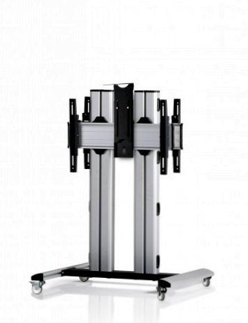 2 Displays 1×1 beidseitig, für große Bildschirme, Höhe 110 cm, Standard-VESA, Kamera-Halterung, laufrollen- auf Standfuß