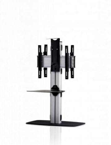 2 Displays 1×1 beidseitig, Höhe 110 cm, Standard-VESA, Ablage, Kamera-Halterung,, – mit Standfuß