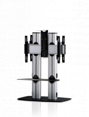 2 Displays 1×1 beidseitig, für große Bildschirme, Höhe 110 cm, Standard-VESA, Kamera-Halterung, mit Standfuß