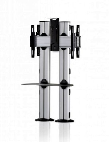 2 Displays 1×1 beidseitig, für große Bildschirme, Höhe 135 cm, Standard-VESA, Ablage, Kamera-Halterung,, – zur Bodenbefestigung