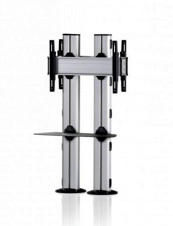 2 Displays 1×1 beidseitig, für große Bildschirme, Höhe 135 cm, Standard-VESA, Ablage, zur Bodenbefestigung