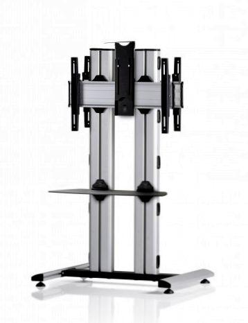 2 Displays 1×1 beidseitig, für große Bildschirme, Höhe 135 cm, Standard-VESA, Ablage, Kamera-Halterung,, – auf Standfuß