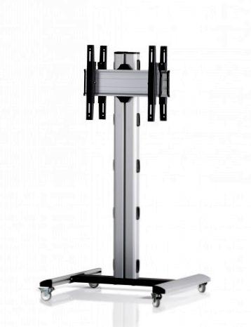 2 Displays 1×1 beidseitig, Höhe 135 cm, Standard-VESA, auf Standfüßen mit Laufrollen