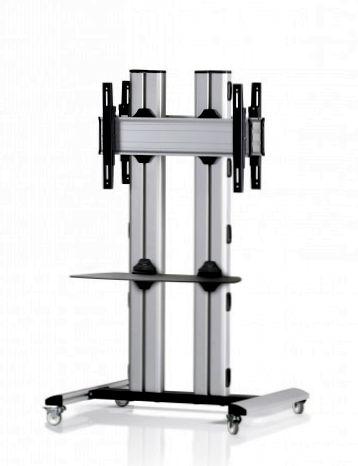 2 Displays 1×1 beidseitig, für große Bildschirme, Höhe 135 cm, Standard-VESA, Ablage, auf Standfüßen mit Laufrollen