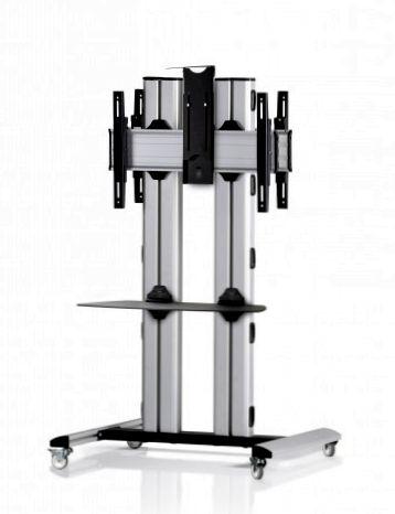 2 Displays 1×1 beidseitig, für große Bildschirme, Höhe 135 cm, Standard-VESA, Kamera-Halterung, laufrollen- auf Standfuß