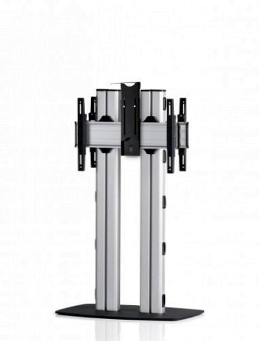 2 Displays 1×1 beidseitig, für große Bildschirme, Höhe 135 cm, Standard-VESA, Kamera-Halterung, mit Standfuß