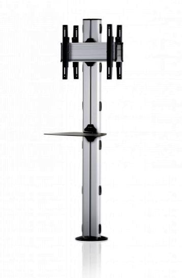 2 Displays 1×1 beidseitig, Höhe 180 cm, Standard-VESA, Ablage, zur Bodenbefestigung