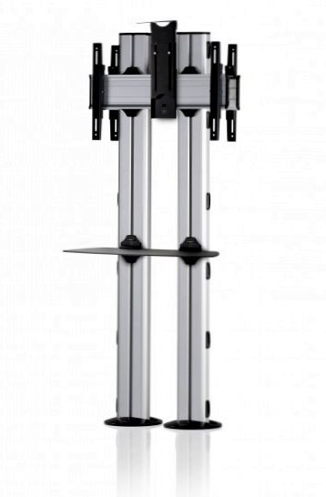 2 Displays 1×1 beidseitig, für große Bildschirme, Höhe 180 cm, Standard-VESA, Ablage, Kamera-Halterung,, – zur Bodenbefestigung