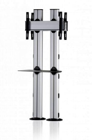2 Displays 1×1 beidseitig, für große Bildschirme, Höhe 180 cm, Standard-VESA, Ablage, zur Bodenbefestigung