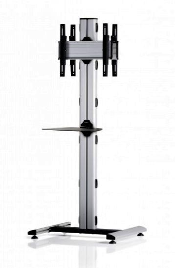 2 Displays 1×1 beidseitig, Höhe 180 cm, Standard-VESA, Ablage, auf Standfuß