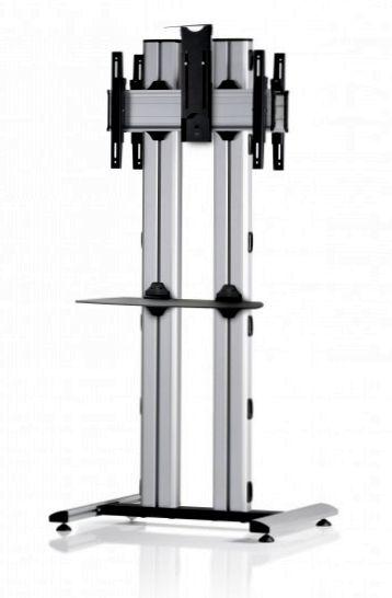 2 Displays 1×1 beidseitig, für große Bildschirme, Höhe 180 cm, Standard-VESA, Ablage, Kamera-Halterung,, – auf Standfuß