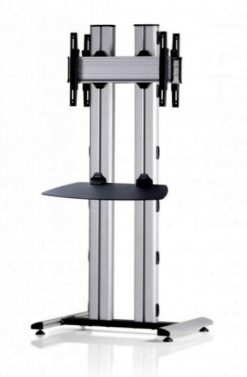 2 Displays 1×1 beidseitig, für große Bildschirme, Höhe 180 cm, Standard-VESA, Ablage, auf Standfuß