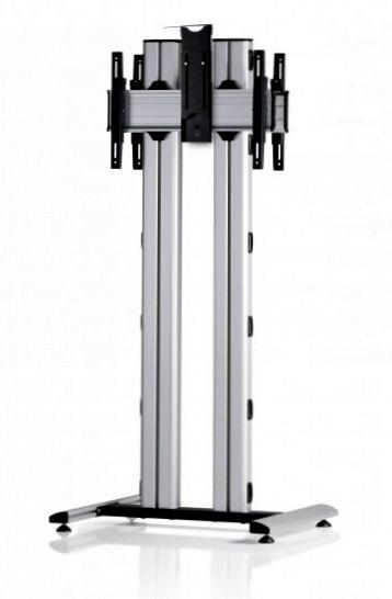 2 Displays 1×1 beidseitig, für große Bildschirme, Höhe 180 cm, Standard-VESA, Kamera-Halterung, auf Standfuß