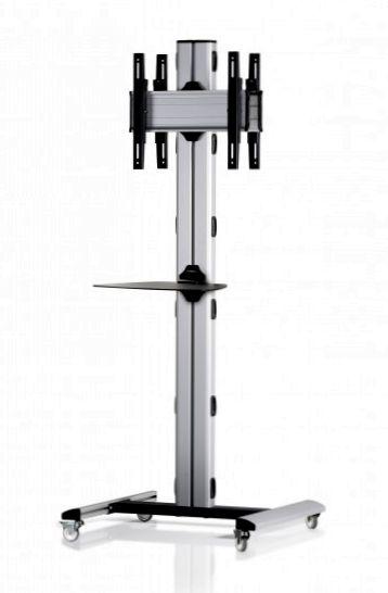 2 Displays 1×1 beidseitig, Höhe 180 cm, Standard-VESA, Ablage, auf Standfüßen mit Laufrollen