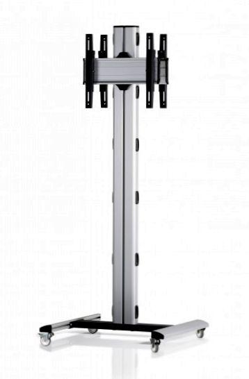 2 Displays 1x1 beidseitig, Höhe 180 cm, Standard-VESA, auf Standfüßen mit Laufrollen