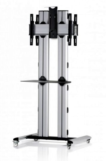 2 Displays 1×1 beidseitig, für große Bildschirme, Höhe 180 cm, Standard-VESA, Ablage, Kamera-Halterung,, -laufrollen- auf Standfuß