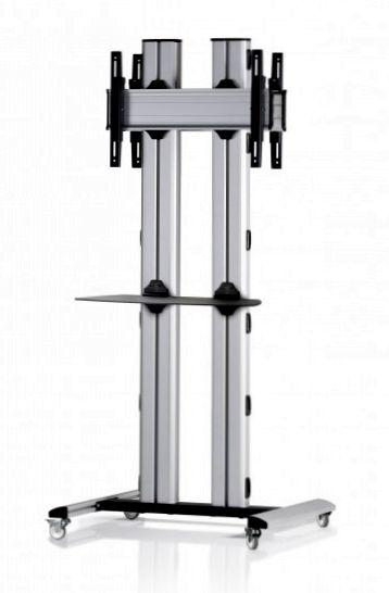 2 Displays 1×1 beidseitig, für große Bildschirme, Höhe 180 cm, Standard-VESA, Ablage, auf Standfüßen mit Laufrollen